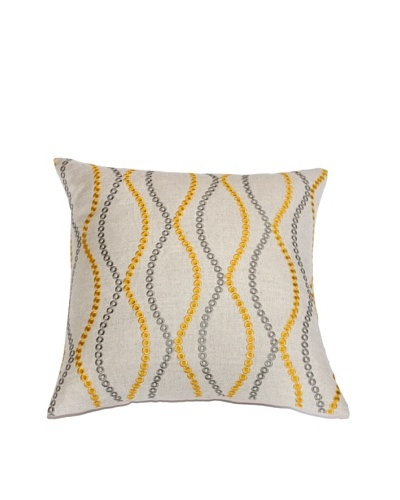 Filling Spaces Embroidered Waves Pillow, Yellow/Grey