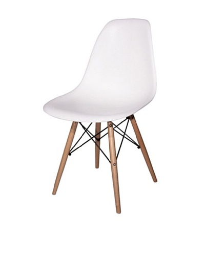 Fine Mod Wood-Leg Dining Side Chair, White