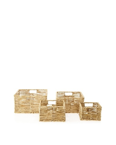 Firefly Set of 4 Square Top Storage Woven Baskets