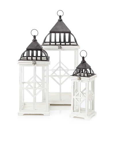 Firefly Home Collection Set of 3 White Wooden Lanterns