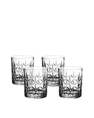 Fitz and Floyd Set of 4 Fleur Crystal 10-Oz. Double Old Fashion Glasses