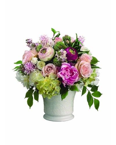 Peony, Rose, and Ranunculus In Ceramic Container