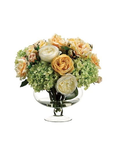 Rose and Hydrangea In Glass Vase