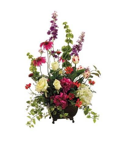 Fresh Spring Mix with Peonies, Rose, Rudbeckia, Cosmos, and Bells of Ireland In A Metal Container