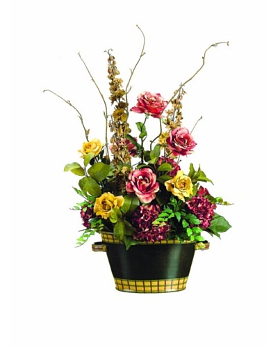 Hydrangea and Rose In Ceramic Container