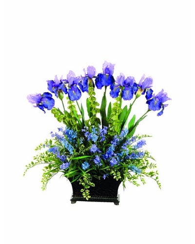 Iris and Wildflowers In Resin Container