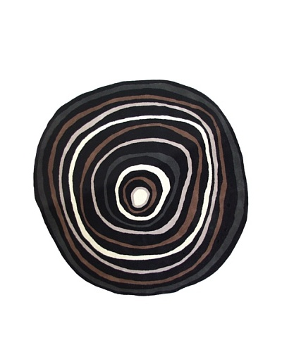 "Boardwalk Rug, Black/Off-White/Grey/Brown, 7' 5"" Round"