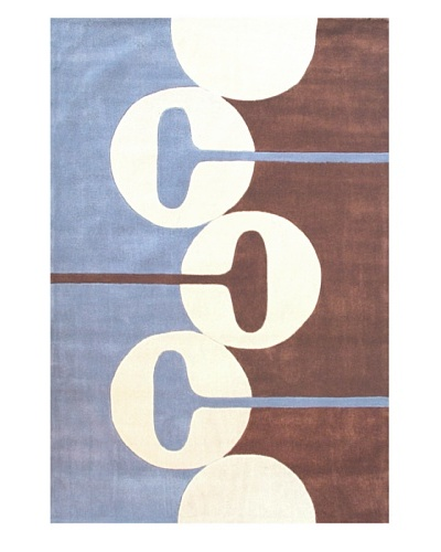 Festival Rug, Blue/Off-White/Chocolate, 5' x 7' 3