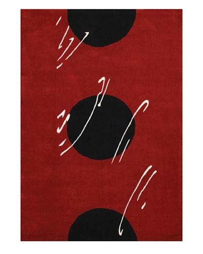 Festival Rug, Black/White/Deep Red, 5' x 7' 3