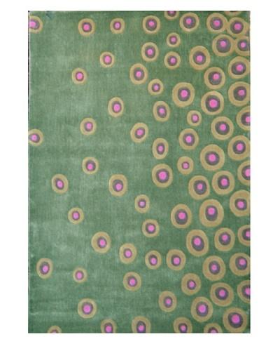 Festival Rug, Green/Celery/Pink, 5' x 7' 3