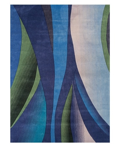 """Festival Rug, Blue/Cornflower/Green/Lilac, 5' x 7' 3"""""""