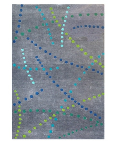 """Festival Rug, Grey/Green/Turquoise/Blue, 5' x 7' 3"""""""