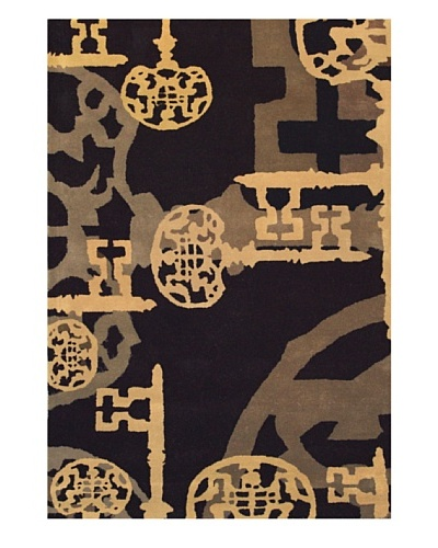 Chelsea Rug, Charcoal/Umber/Silver/Ochre, 5' x 7' 3
