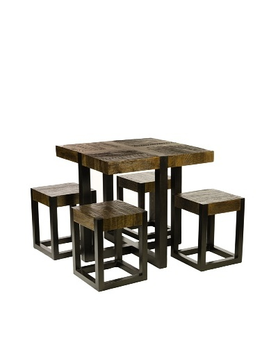 Foreign Affairs Rustic Square Dining Table with Four Stools Batavia, Solid Wood