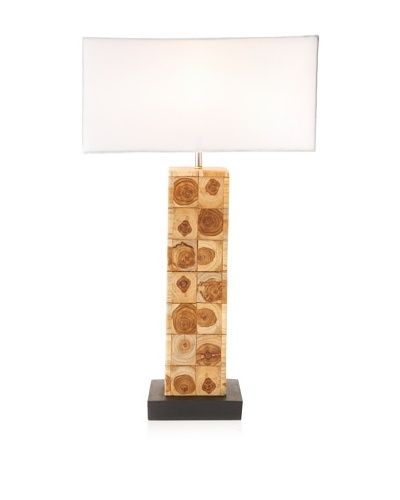 Foreign Affairs Teak Wood Table Lamp Teak, Conical White Shade, Handcrafted From Teak Wood, White