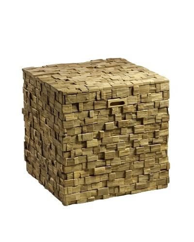 Foreign Affairs Teak Mosaic Storage Cube