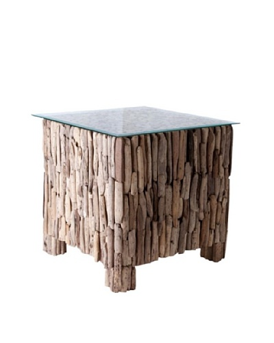 Foreign Affairs Square Driftwood Table Shore, Fitted Glass Top