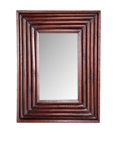 Foreign Affairs Rectangular Wood Mirror, Brown