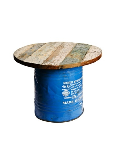 Foreign Affairs Coffee Table Hipster, Recycled Oil Drum Base with Reclaimed Boat Wood Top, Various