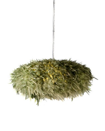 Foreign Affairs Hanging Indri Feather Lamp, Light Green