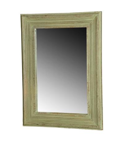 Foreign Affairs Rectangular Green Antique Finish Mango Wood Mirror