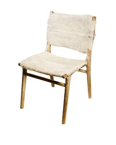 Foreign Affairs Side/Dining Chair In White Goat Skin Kambing