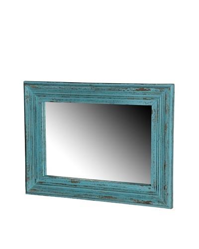 Foreign Affairs Rectangular Blue Antique Finish Mango Wood Mirror