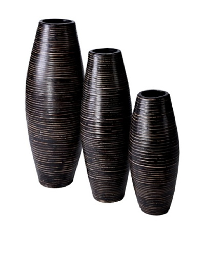 Foreign Affairs Set of 3 Large Rattan Vases
