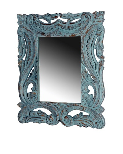 Foreign Affairs Ornate Hand Carved Mirror, Antique Blue