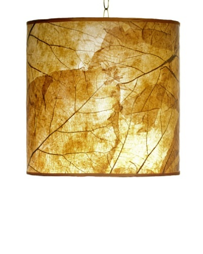 Foreign Affairs Natural Teak Leaf Hanging Lamp, Orange