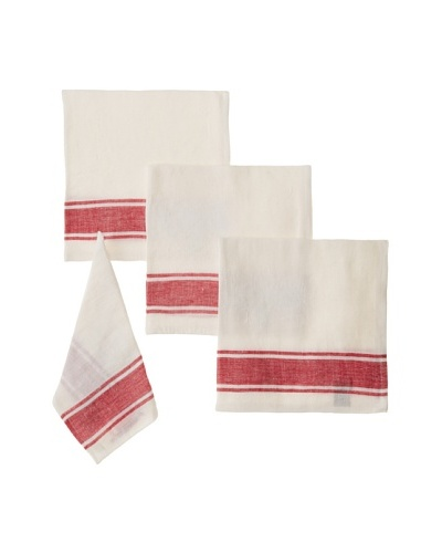 Found Object Calais Set of 4 Linen/Cotton Napkins, White/Red