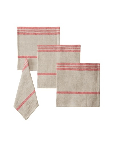 Found Object Marseille Set of 4 Linen/Cotton Napkins, Khaki/Red