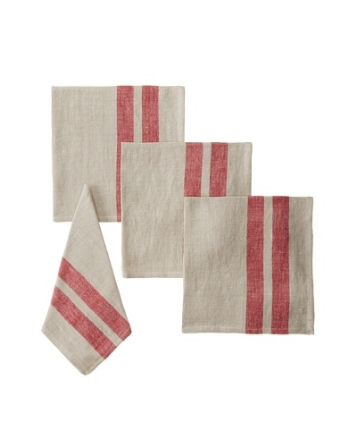 Found Object Lille Set of 4 Linen/Cotton Napkins, Khaki/Red