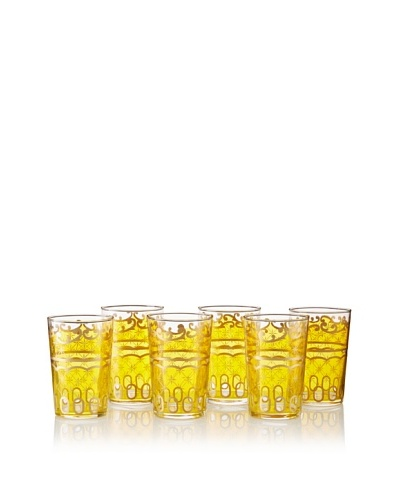 Found Objects Set of 6 Lozenge Moroccan Glasses, Yellow