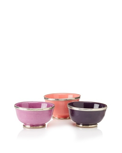 Found Objects Set of 3 Assorted Bowls, Pink/Lavender/Aubergine