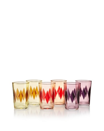 Found Objects Set of 6 Lozenge Moroccan Glasses