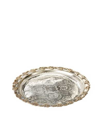 Found Objects Round Moroccan Tea Tray, Silver