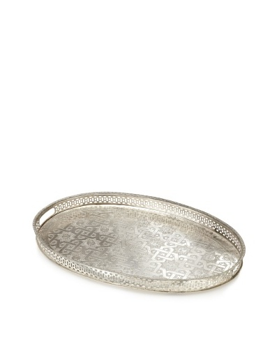 Found Objects Moroccan Tea Tray, Oval, Silver