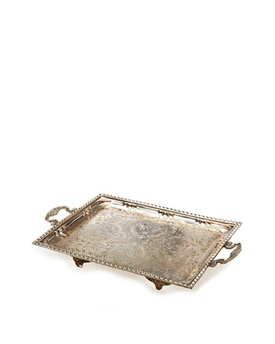 Found Objects Rectangular Moroccan Tea Tray, Silver