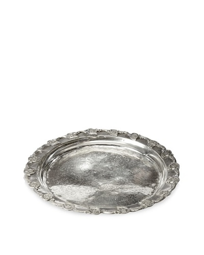 Found Objects Moroccan Tea Tray Round, Silver