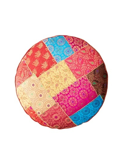 Found Objects Round Patchwork Brocade Pillow