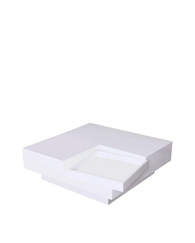 Fox Hill Trading Co. White with White Accent Coffee Table with TrayAs You See