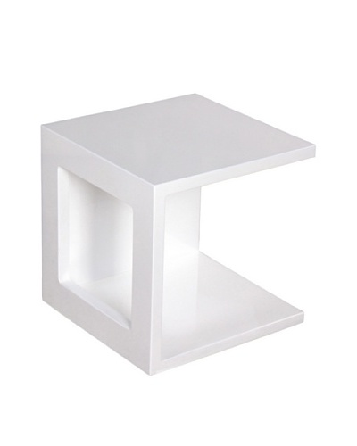 Fox Hill Trading Co. High Gloss Coffee Table Cube Shape, White
