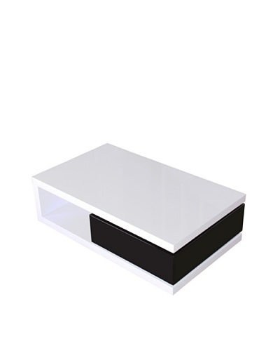 Fox Hill Trading Co. Glossy Functional Coffee Table with Storage, White/Black