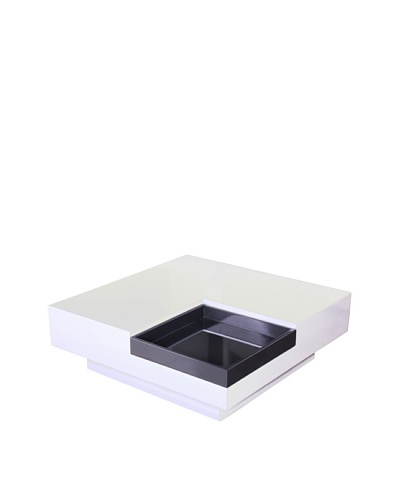 Fox Hill Trading Co. White with Dark Gray Accent Coffee Table with TrayAs You See