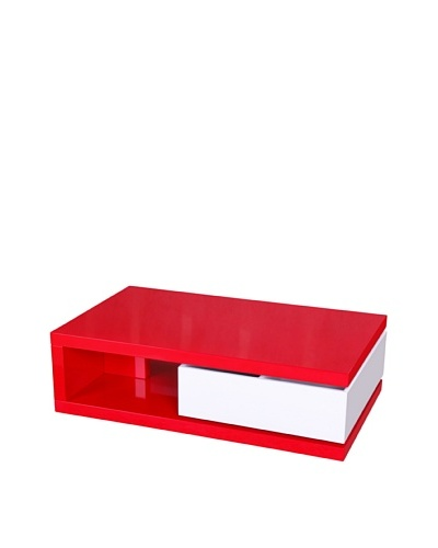 Fox Hill Trading Co. Glossy Functional Coffee Table with Storage, Red/White