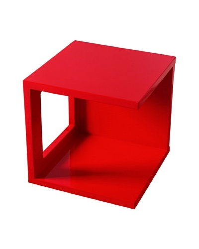 Fox Hill Trading Co. High Gloss Coffee Table Cube Shape, Red
