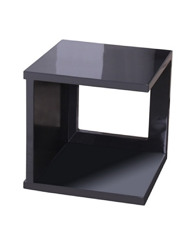 Fox Hill Trading Co. High Gloss Coffee Table Cube Shape, Dark Gray
