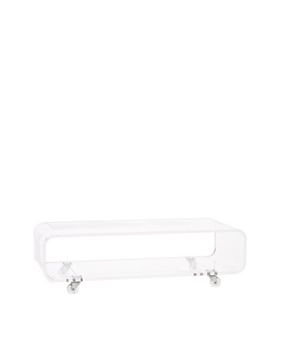 Foxhill Trading Pure Décor Acrylic Rolling Coffee Table, Clear