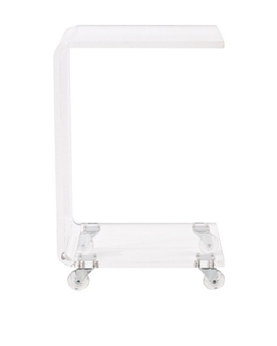 Foxhill Trading Pure Décor Acrylic C-Shape Accent Table, Clear